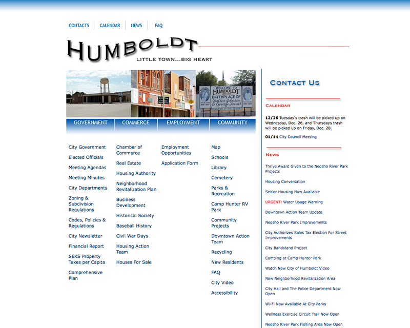 image of city of humboldt website