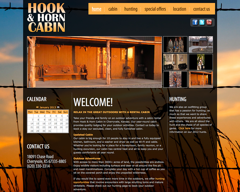 image for hook and horn cabin website