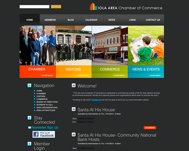 image of iola chamber of commerce website