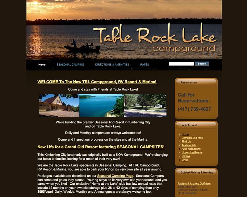 image for tablerock lake campground website