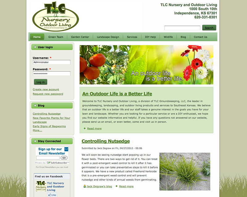 image of tlc nursery website design